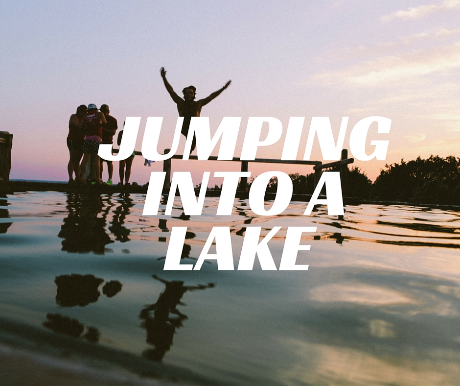 jumping into a lake