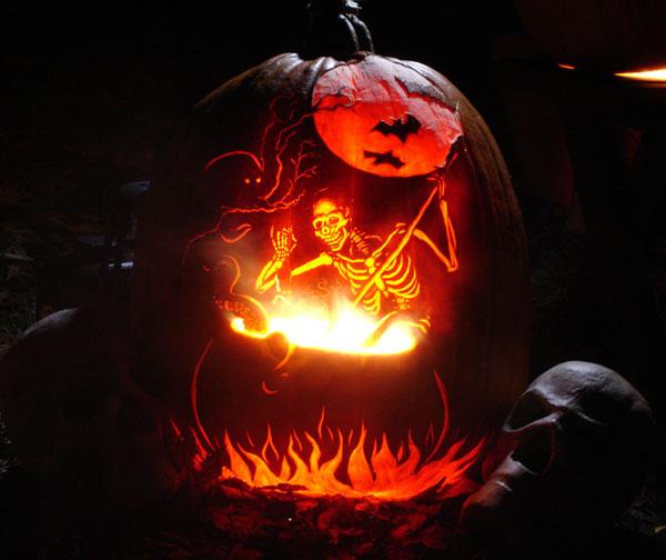 Seriously cool pumpkins for Skeleton pumpkin design